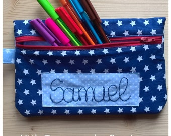 Custom pouch with zip front