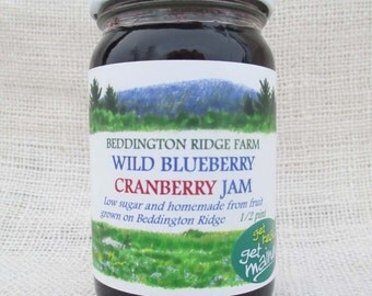 wild blueberry cranberry jam/Maine wild blueberry cranberry jam/homemade wild blueberry cranberry jam/blueberry and wild bog cranberry jam