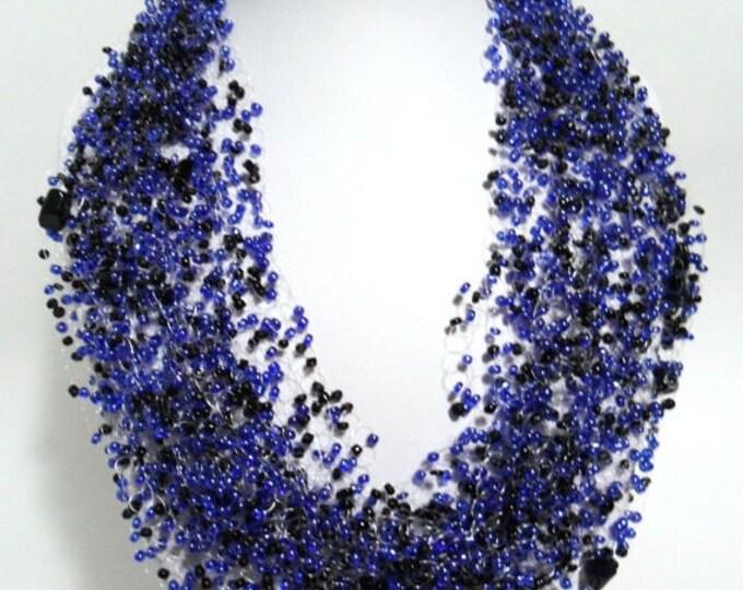 Blue aventurine multistrand statement necklace airy crochet cobweb unusual beadwork bridesmaid casual gift idea beaded romantic gemstone