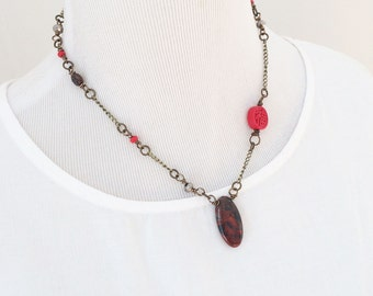 Red and black natural stone necklace, Boho necklace, beaded necklace, upcycled necklace, stone necklace, beaded necklace, gift for her