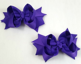 Purple Mini Hair Bows-Set of 2/Hair Accessories/Little Girl Hair Bow/Toddler Hair Bow/Pig Tail Bows/Accessory/Purple Hair Bow/Stack Hair Bow