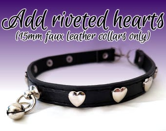 Add Riveted Hearts [15mm Faux Leather Collars and Cuffs Only]