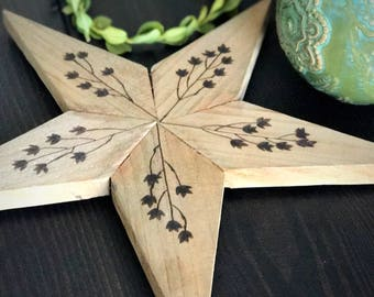 SUMMER SALE:  Rustic Weathered Cedar Wood Star with Burned Floral Design