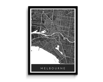 Melbourne map - Modern, detailed and original - Professional printing and fast FREE shipping