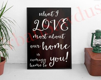What I love most about our home is coming home to you - Hand Painted Wood Sign - Valentines Gift, Wedding Gift,Bride and Groom, Home Decor