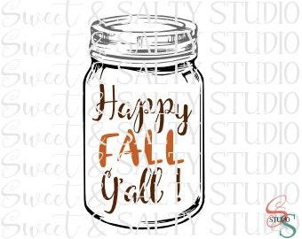 happy fall y'all mason jar digital file