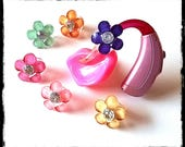 Tube Trinkets:  Crystal Like Jeweled Flowers!  Please select quantity 2 for a pair!