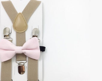 Tan Y-Back Suspender and light pink bow tie set Kids Photoprop Wedding Accessories Boys