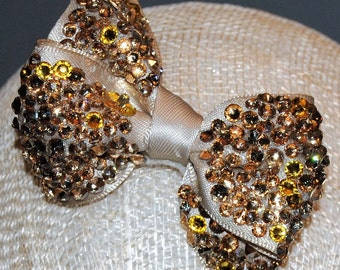 Swarovski crystal encrusted satin bow  3""