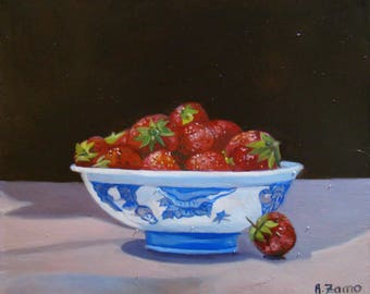 Bowl of strawberries, Original Oil Painting by Anne Zamo