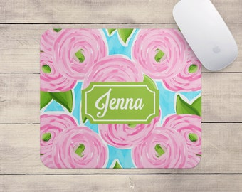 Personalized Floral Mouse Pad - Pink Roses - Mousepad Monogram Custom Office Decor Desk Accessories Best Seller Floral Gifts