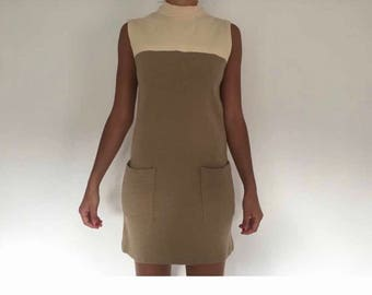 Vintage 1960s mod dress a line shift S 8