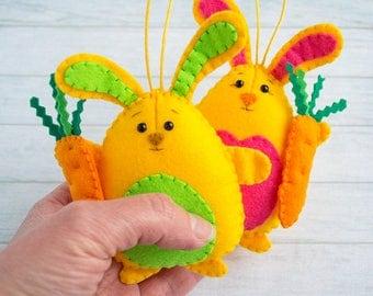 Cute bunny Rabbit decor Felt ornaments Stuffed bunny Woodlands rabbit Nursery bunny Orange wall hanging Christmas ornament gift Easter bunny