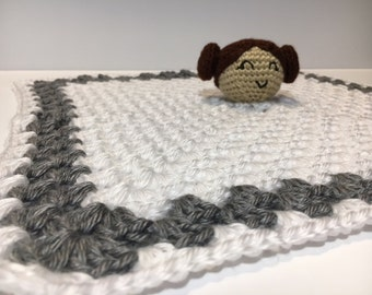 Star Wars Princess Leia Inspired Crocheted Baby Lovey With Rattle