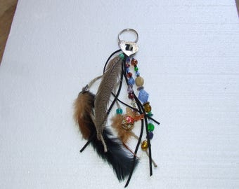 Earthtones Beads and Feathers Keychain
