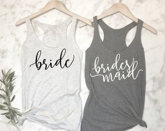 Customizable Bridesmaid Shirts, Bachelorette Party Shirts, Bridal Party Tank Tops, Bride Tank, Bridal Party shirts, Bachelorette Shirts