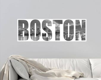 Boston Skyline Wall Decal Boston Skyline Wall Sticker - Custom vinyl decals boston