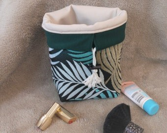 basket/purse fabric woven patterned tropical leaves