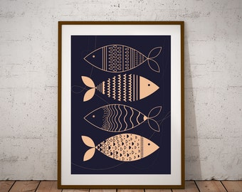 Matsya Fish : Modern, Nordic and Scadinavian Contemporary art print of Fish against a deep indigo blue background