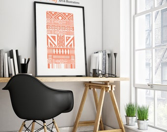 Tribal Tapestry: Modern tribal style geometric abstract art print