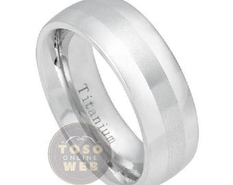 ladies 8mm dome polish titanium wedding band w brushed finish center comfort fit anniversary