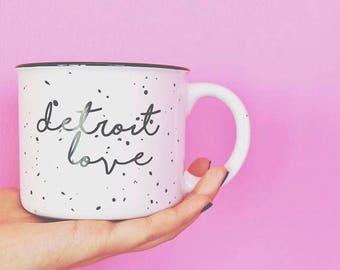 Detroit Love Coffee Mug   Michigan, mug, coffee lover gift, detroit, Christmas gift, made in Michigan, camp inspired ceramic mug, camp mug