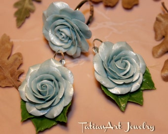 Set Blue Sky earrings and Ring Polymer clay Jewelry Gift ideas.