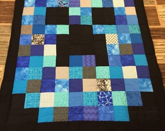 SALE!!  Minecraft inspired quilt / minky blanket / minky quilt /  Blue / pink / purple / green
