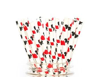 Casino Card Straws | Cards Party Straws | Casino Party Decor | Casino Birthday | Casino Decor | Poker Party | Hearts Diamonds Clubs Spades