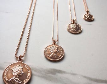 Rose gold Necklace, Long Necklace, Coin Necklace, Rose Gold Coin Necklace, Rose gold jewelry,  Minimalist Jewelry, Layered Necklace.