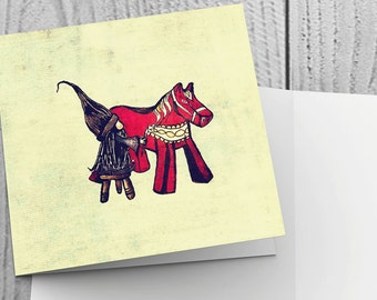 Pack of 6 Christmas Cards with Tomte Painting Dala Horse design - 148mm x 148mm