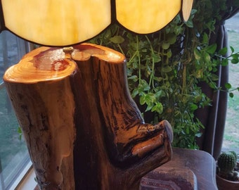 Cedar Log Lamp with vintage glass shade