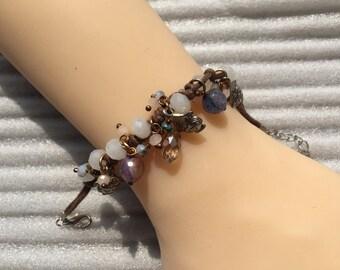 Vintage Purple Crystal Jade Silvertone Bracelet
