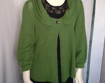 Baby Alpaca Cardigan/Green Cardigan/Size M Cardigan/Womens Alpaca Sweater/Green Wool Sweater/Item Nr.177