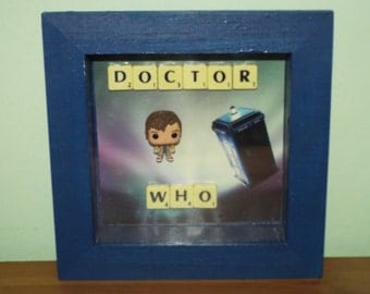 SALE!! Doctor Who Tenth Doctor David Tennant Pocket Funko Pop in a frame with Scrabble Tiles