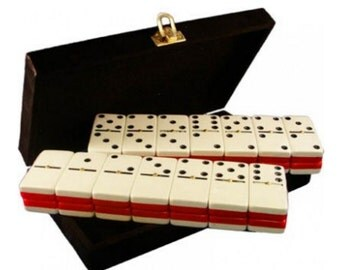 Double 6 Two Tones Colors Engraved Dominoes in Velvet Box (Red&White)