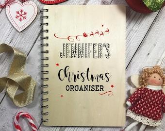 Organizzatore di Natale in legno Notebook Planner personalizzato Natale regalo