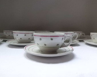 Cups and saucers in faience of Lunéville K.G.