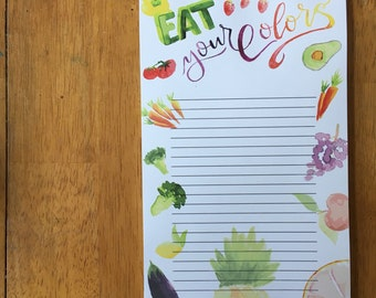 Eat Your Colors grocery list, notepad, to do list, planner, colorful grocery list notepad