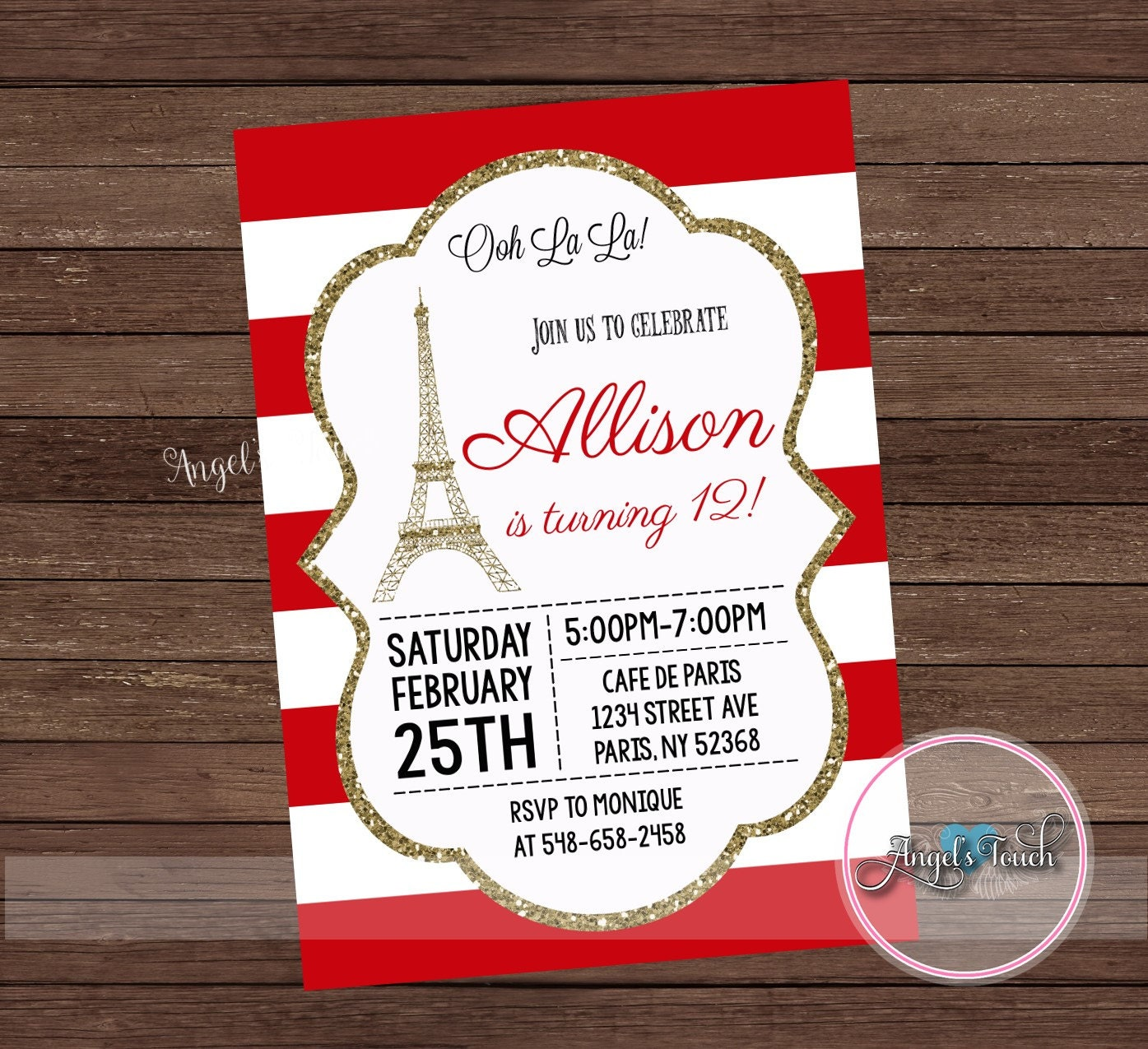Paris Party Invitation, Paris Red and Gold Birthday Party Invitation ...