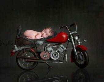 digital backdrop , background  newborn  boy or girl bike motorcycle red gray vintage
