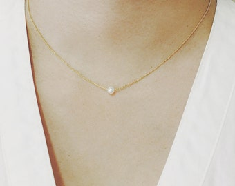 Pearl Necklace, Freshwater Pearl Necklace, Minimalist Necklace