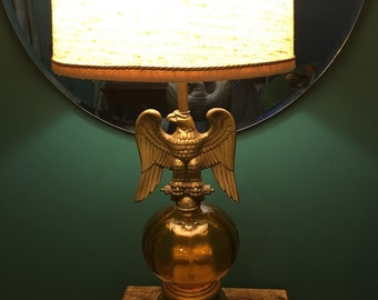 SALE!! Vintage Brass Plated and Amber Glass Table Lamp with Justice/ Federal Eagle Accent.