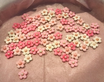READY TO SHIP - 2 Dozen Tiny Fondant Gumpaste Flowers in Shades of Pink and White (Free Shipping)