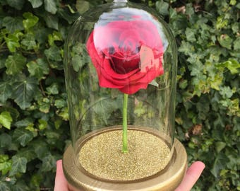 Mini Belle Jar Rose Glass Dome Centrepiece Cake Topper with Decorated Base, Artificial Rose and Fallen Petals