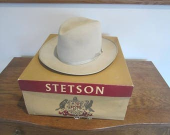 Vintage Steston Hat with box, tan stetson hat, 3X Beaver Stetson, size 7 hat, western hat, Open Road Stetson fedora