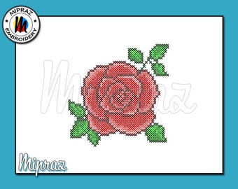 Embroidery Red Rose cross stitch design, Red Rose cross stitch, Rose embroidery design, red rose design [Machine Embroidery Design]