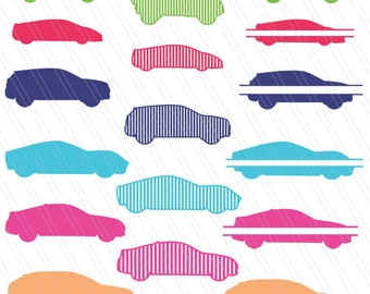 Patterned cars cutting files,Cars vector, cars svg, cars clipart, cars split monogram, cars silhouette - Instant download-SVG,dxf,EPS,Ai,Pdf