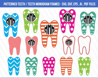 Tooth SVG cutting files, Patterned tooth clipart, Tooth monogram svg, Tooth SVG, Cricut, Teeth Vector, Dental SVG, Dentist, dxf