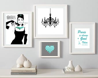 Audrey Hepburn print Breakfast at Tiffany's Digital Download chandelier Black and Turquoise Wall art set of 4 instant download prints heart